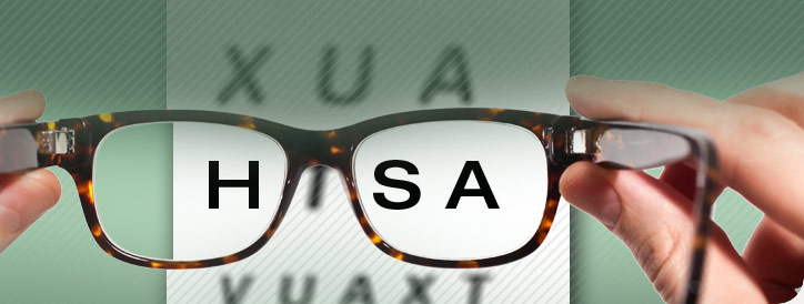 Eye glasses seing HSA health plan information