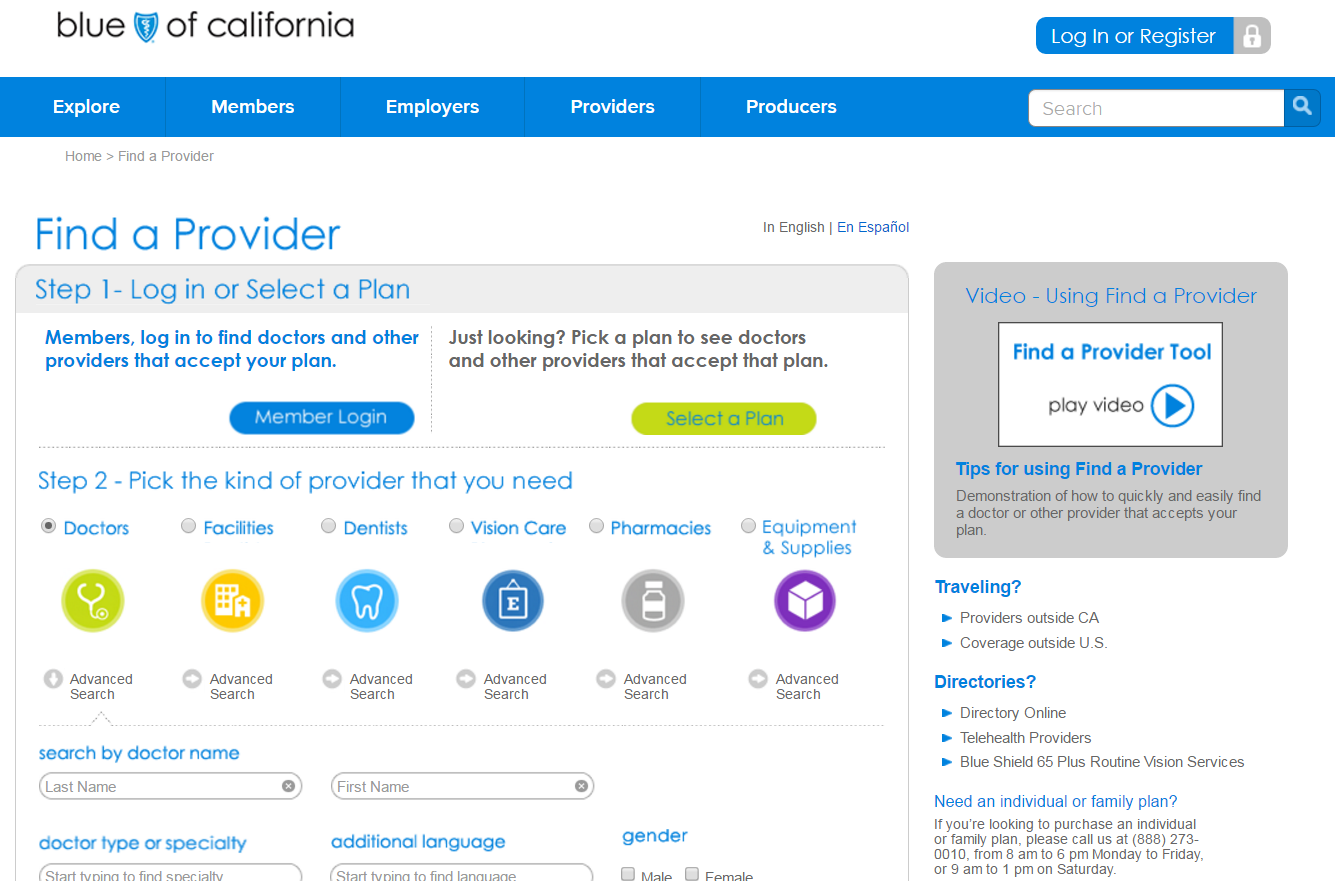 Blue Shield Provider Search Page 07-2016