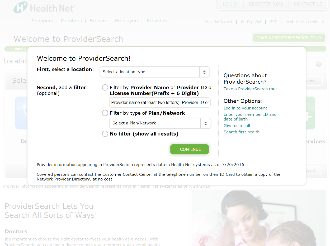 Doctor search tool for Health Net