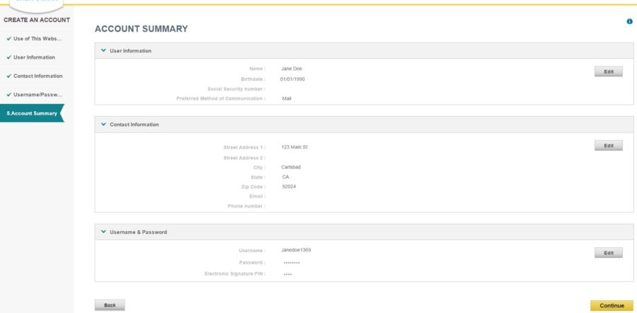 account summary page of covered california account setup