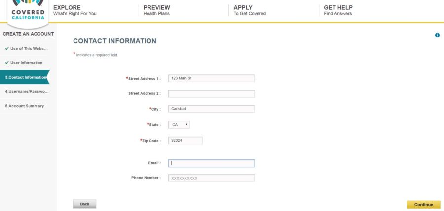 Contact Information page on Covered California application