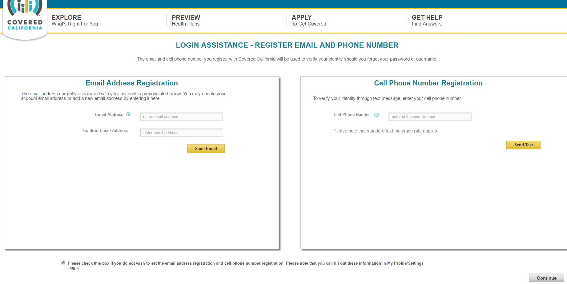 login assistance page for covered california application