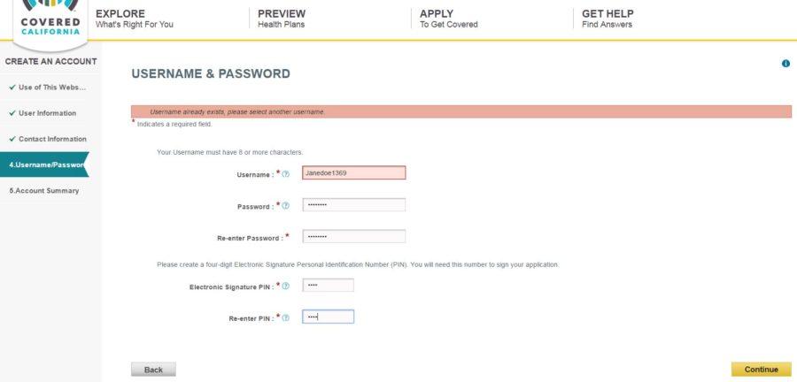 username or password error on Covered California applciation