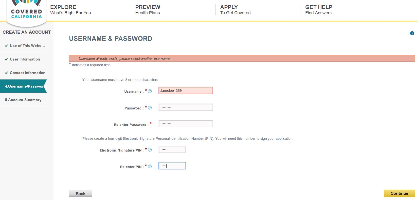 username or password error on Covered California applciation
