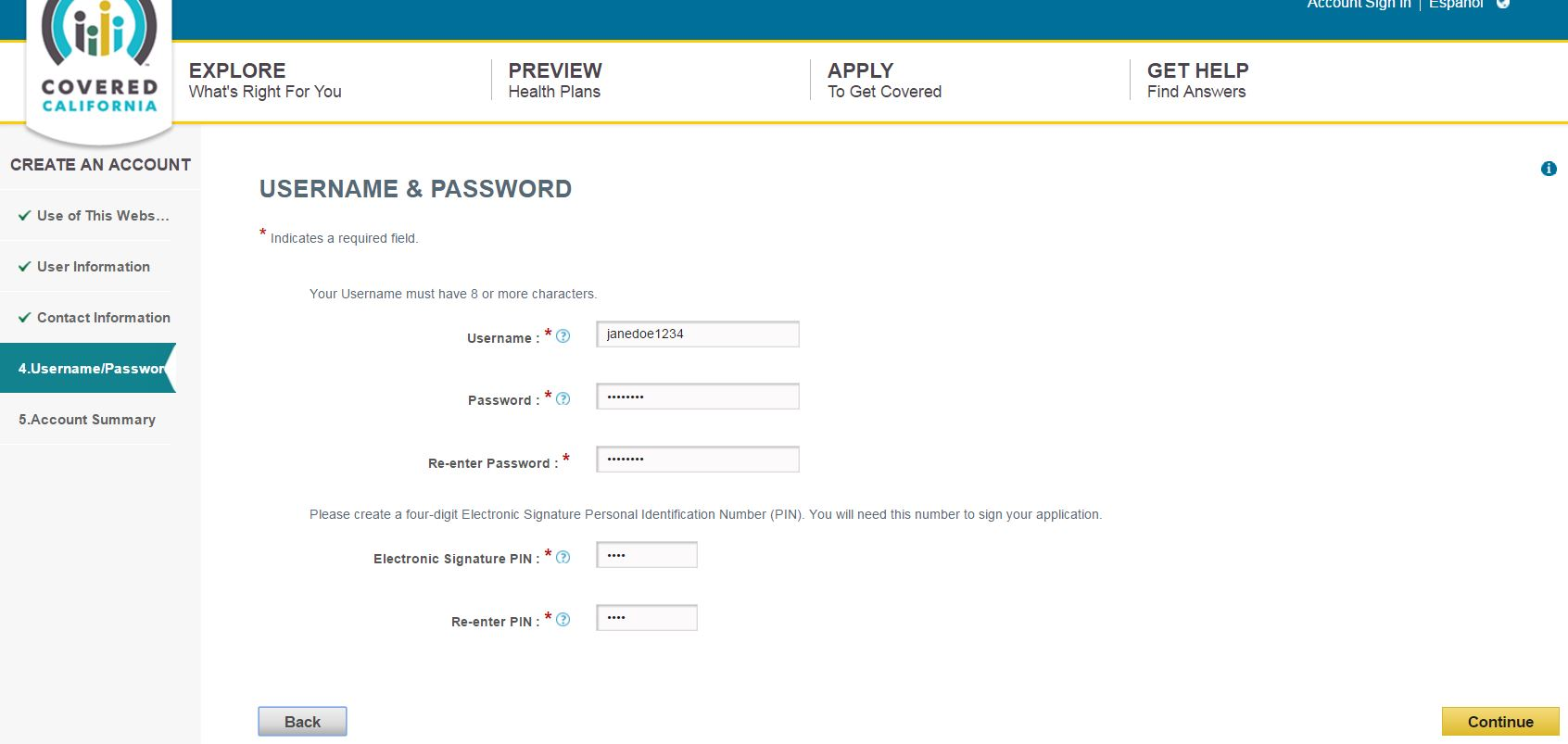 Username and password page on Covered California application