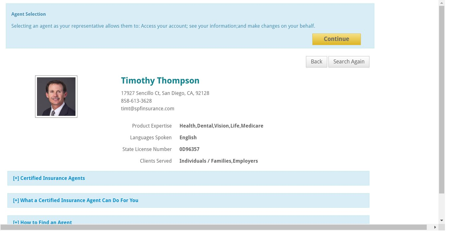 Broker profile page for SPF Insurance and Tim Thompson