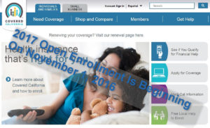 Covered CA open enrollment is beginning on 11/1/16